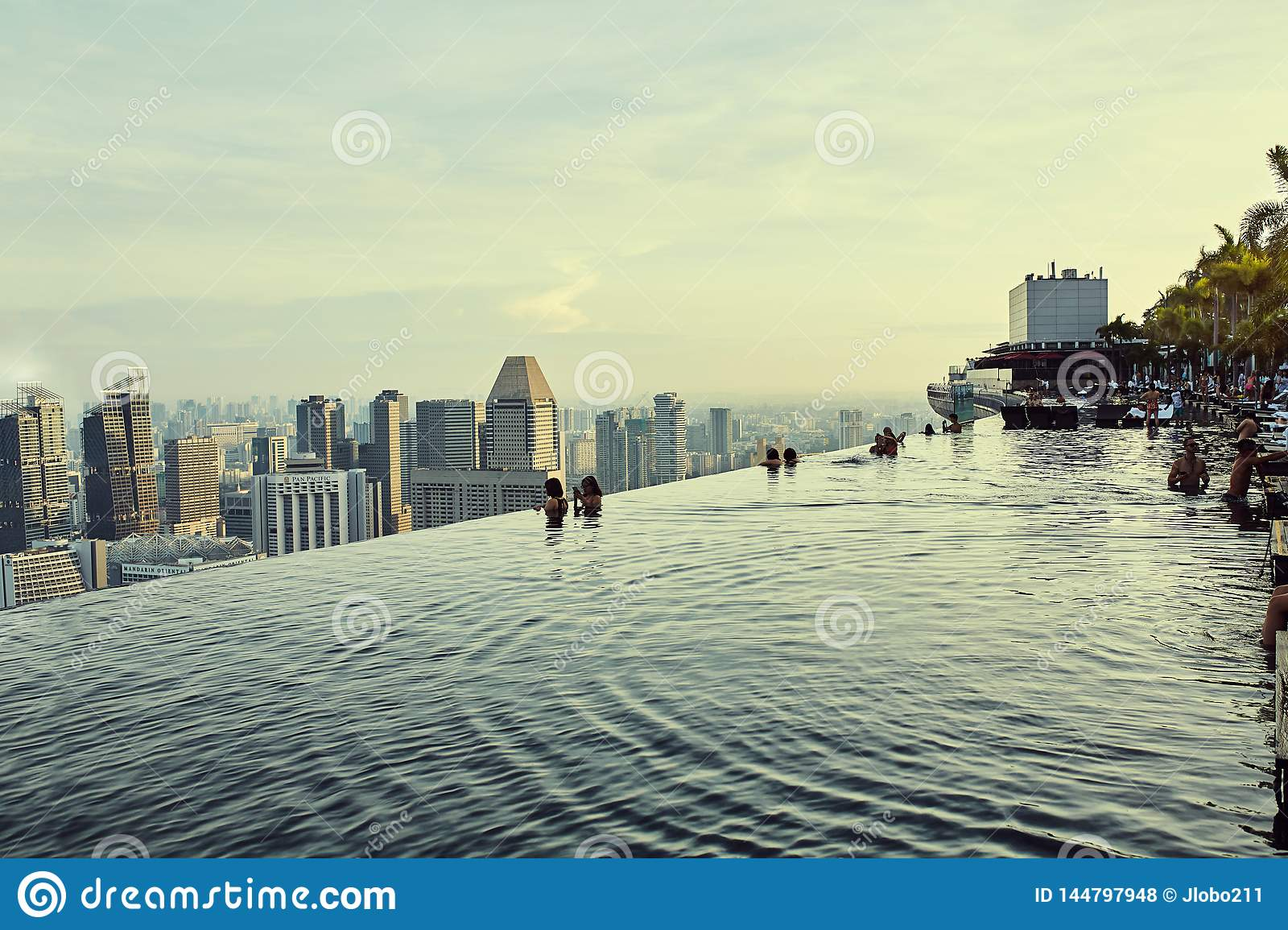 Infinity pool views over city in Singapore