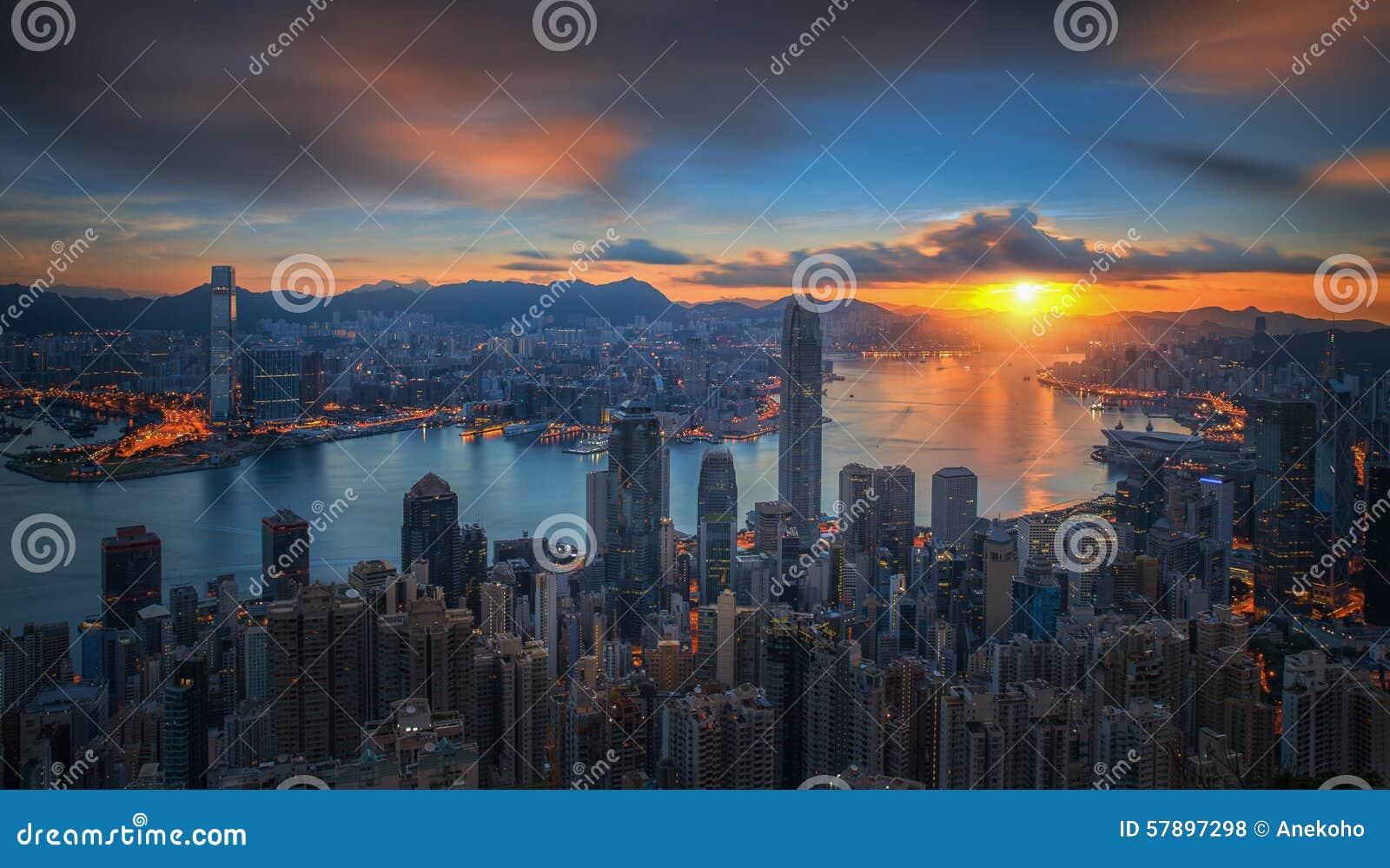 Download Sunrise Over Victoria Harbor As Viewed Atop Victoria Peak Stock Photo - Image of cityscape, harbor: 57897298
