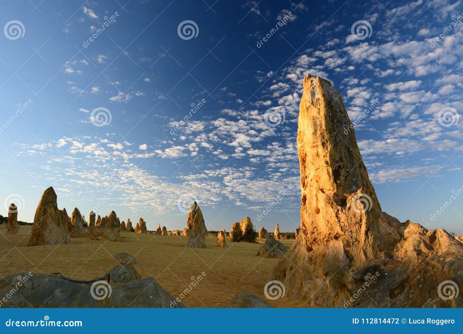 Sunrise in Pinnacles desert. Nambung national park. Cervantes. Western Australia. Australia