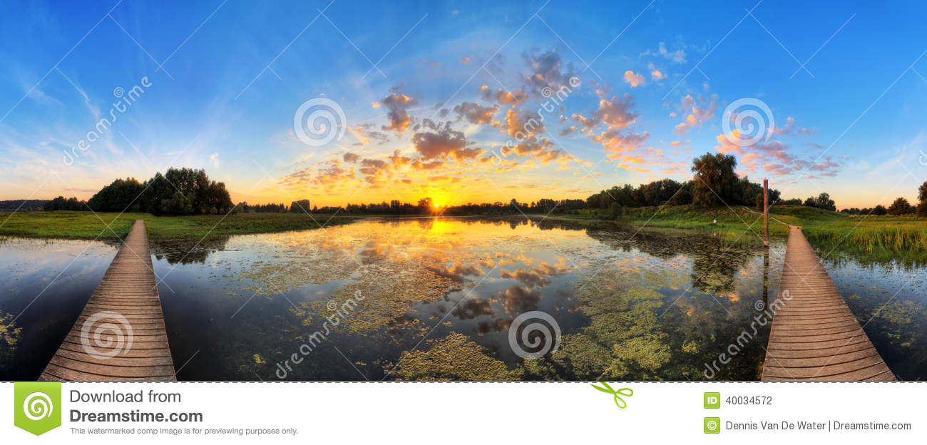 Sunrise pond panorama stock photo image 40034572 - Blauwe kamer ...