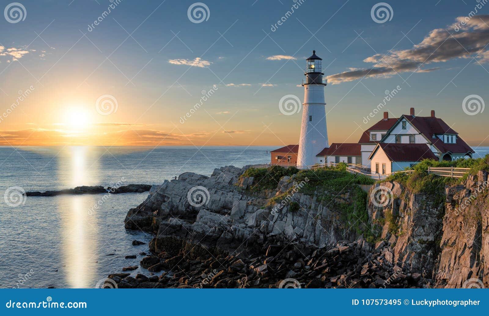 Sunrise at Portland Lighthouse in Cape Elizabeth, Maine, USA.