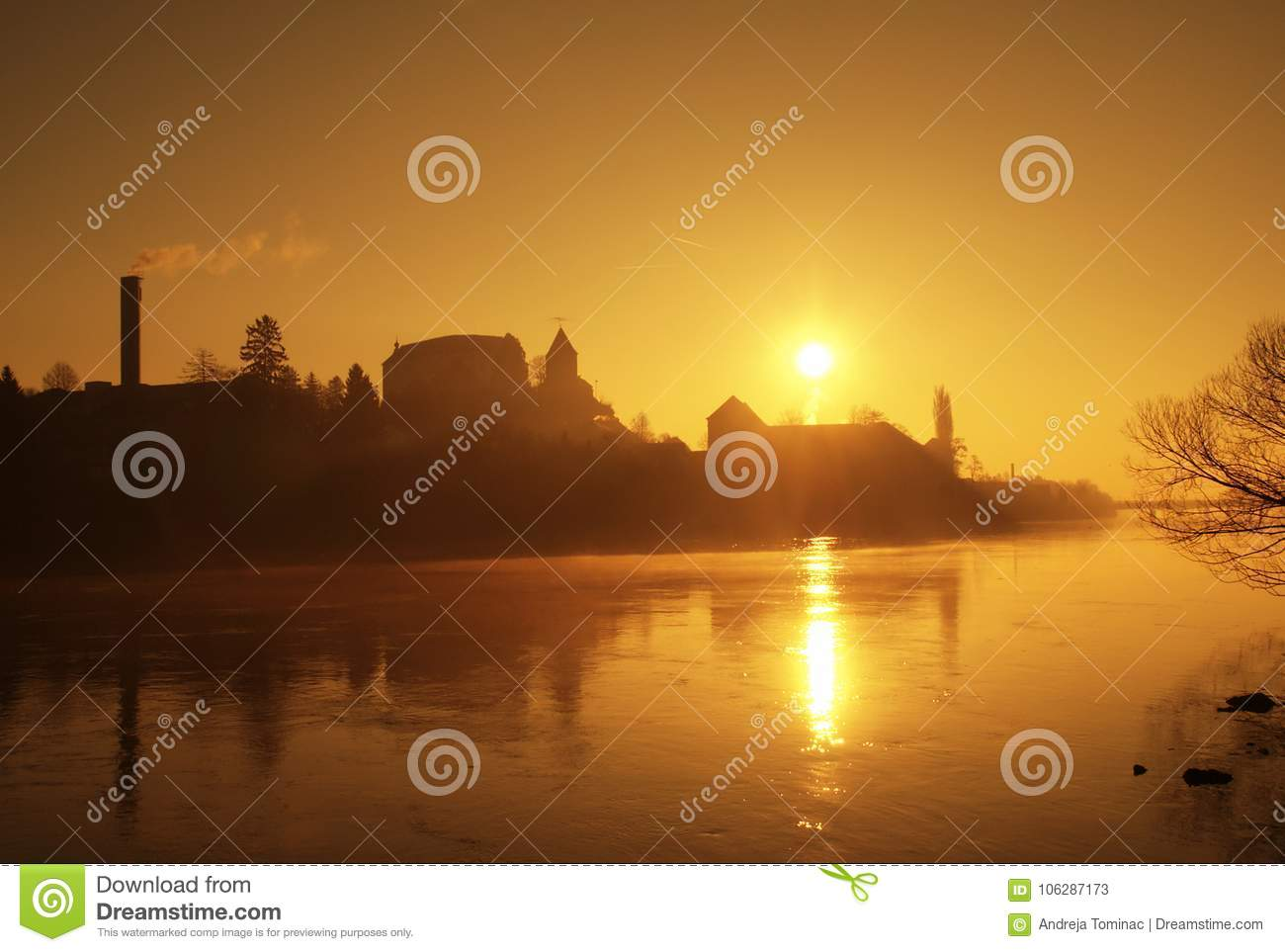 Download Sunrise By The River stock image. Image of silhouette - 106287173
