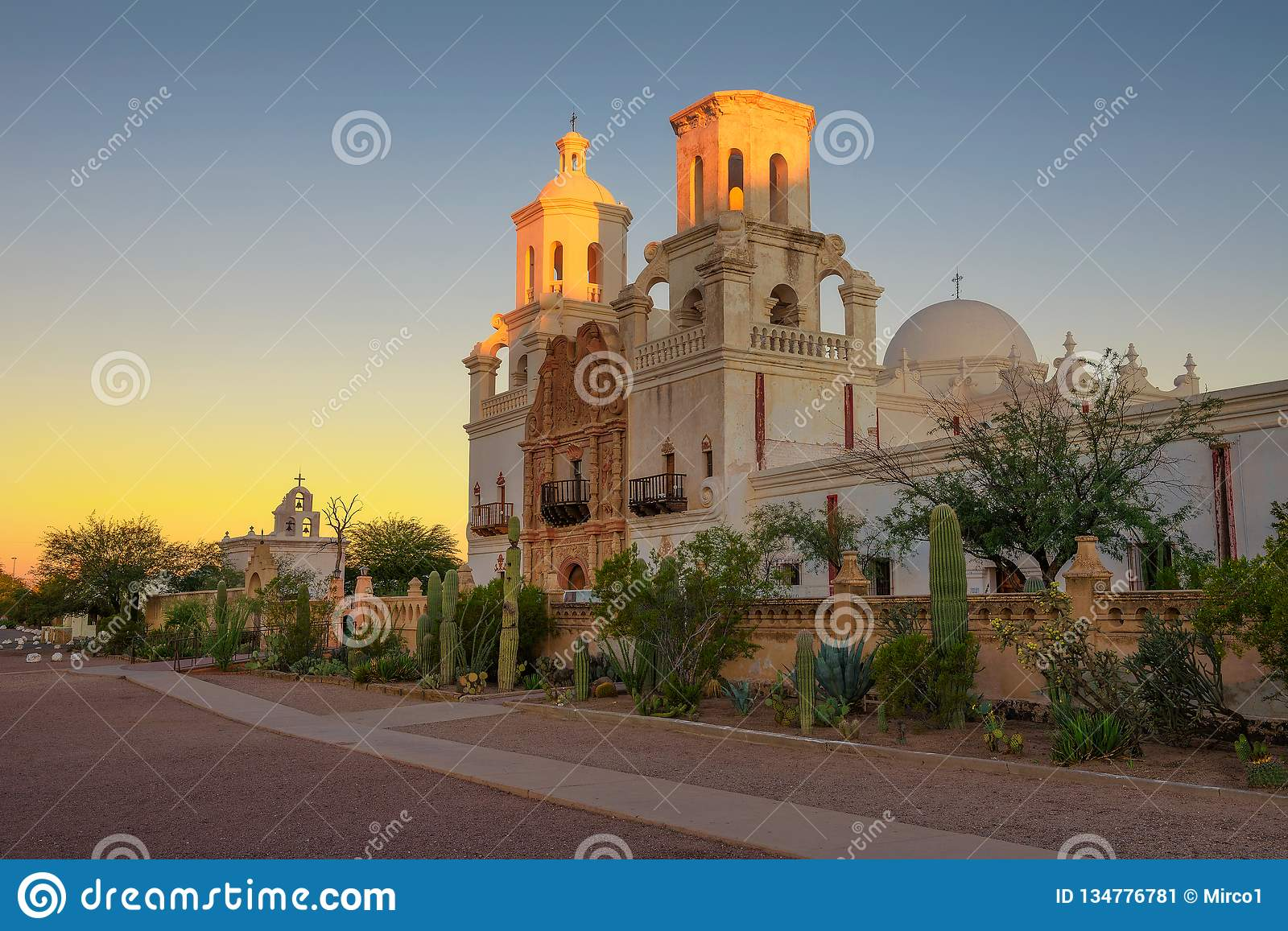 Sunrise at the San Xavier Mission Church in Tucson