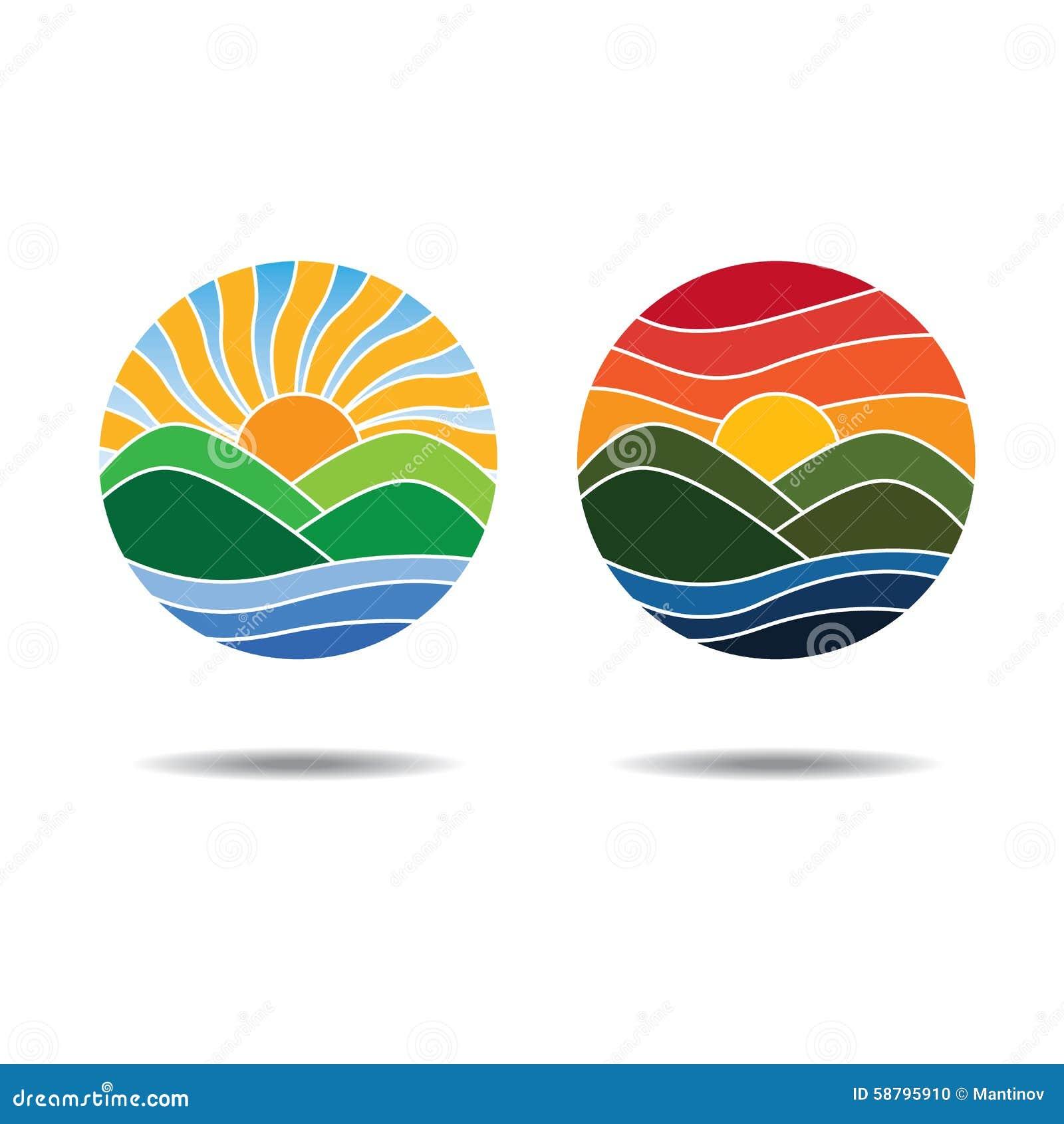 sunrise and sunset logos stock vector illustration of