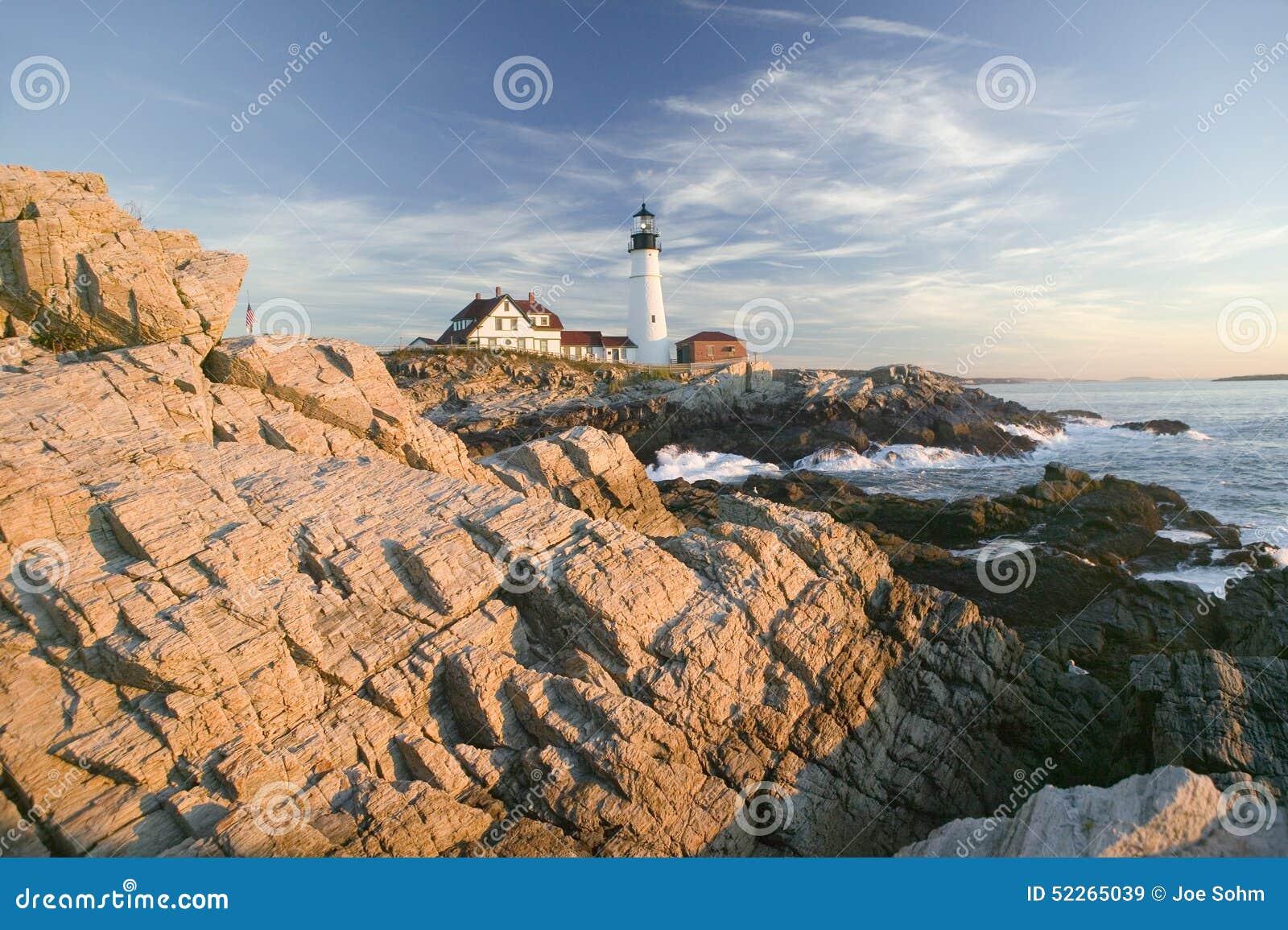 Sunrise view of Portland Head Lighthouse, Cape Elizabeth, Maine