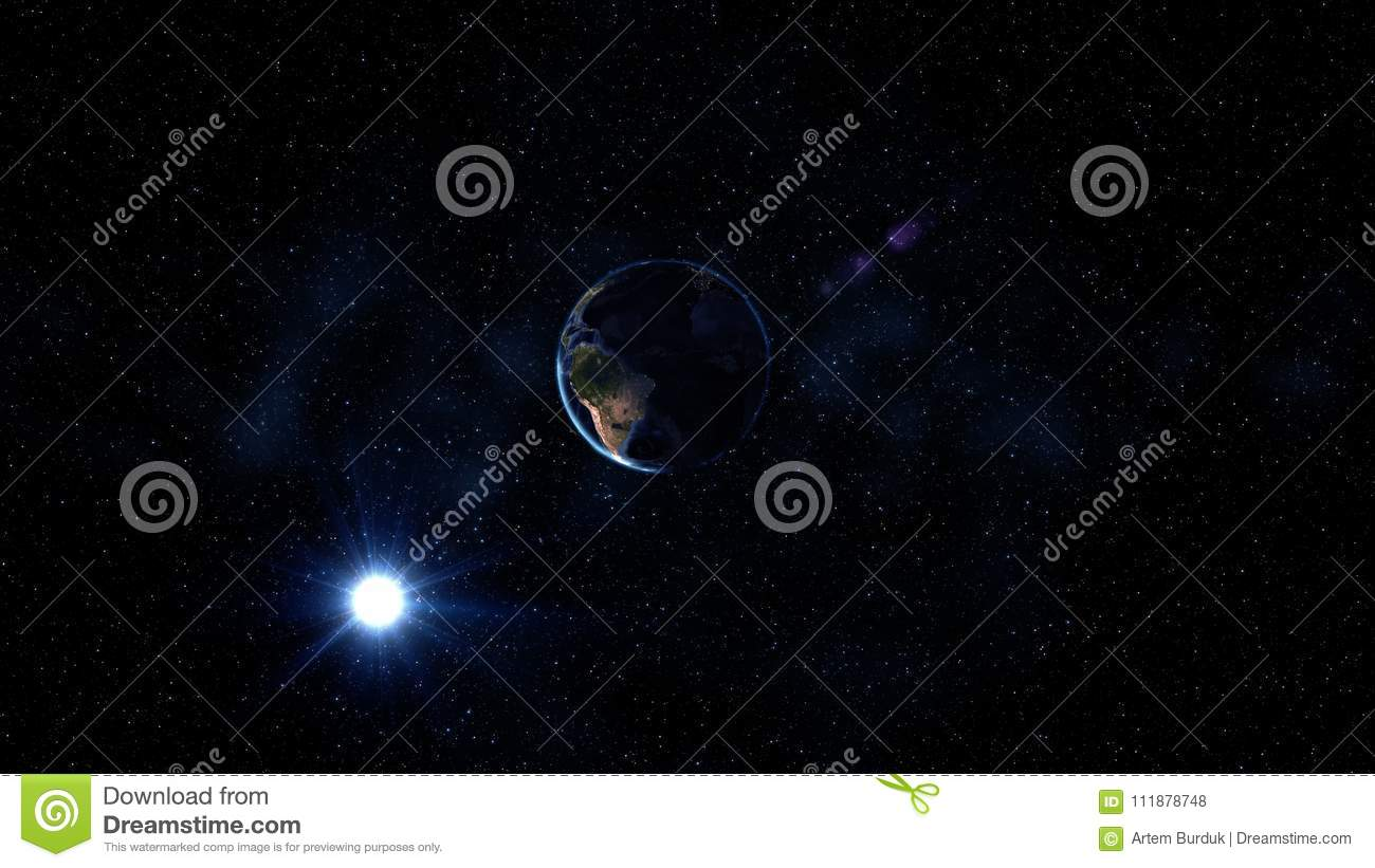 Sunrise view from space on Planet Earth. World rotating on its axis among stars. High detailed 3D Render animation. Elements of th