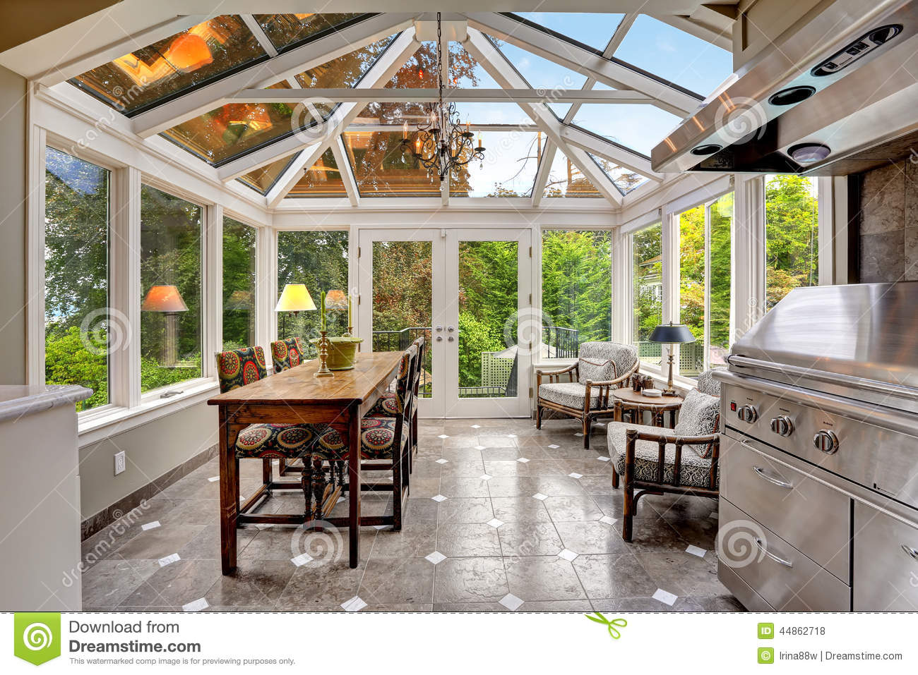 Sunroom Patio Area With Transparent Vaulted Ceiling Stock