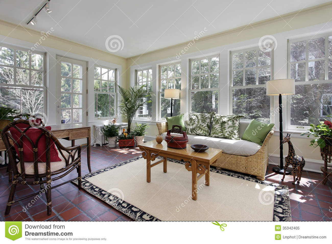 Sunroom With Red Brick Flooring Stock Image Image Of