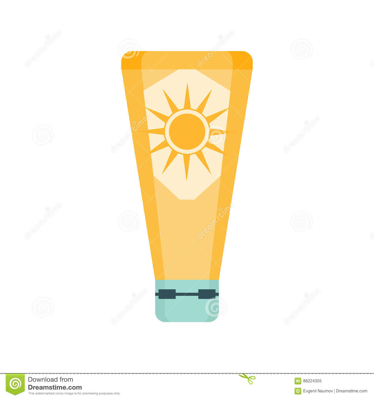 Sunscreen Cream Cosmetic Product In Yellow Bottle, Part Of Summer Beach Vacation Series Of Illustrations