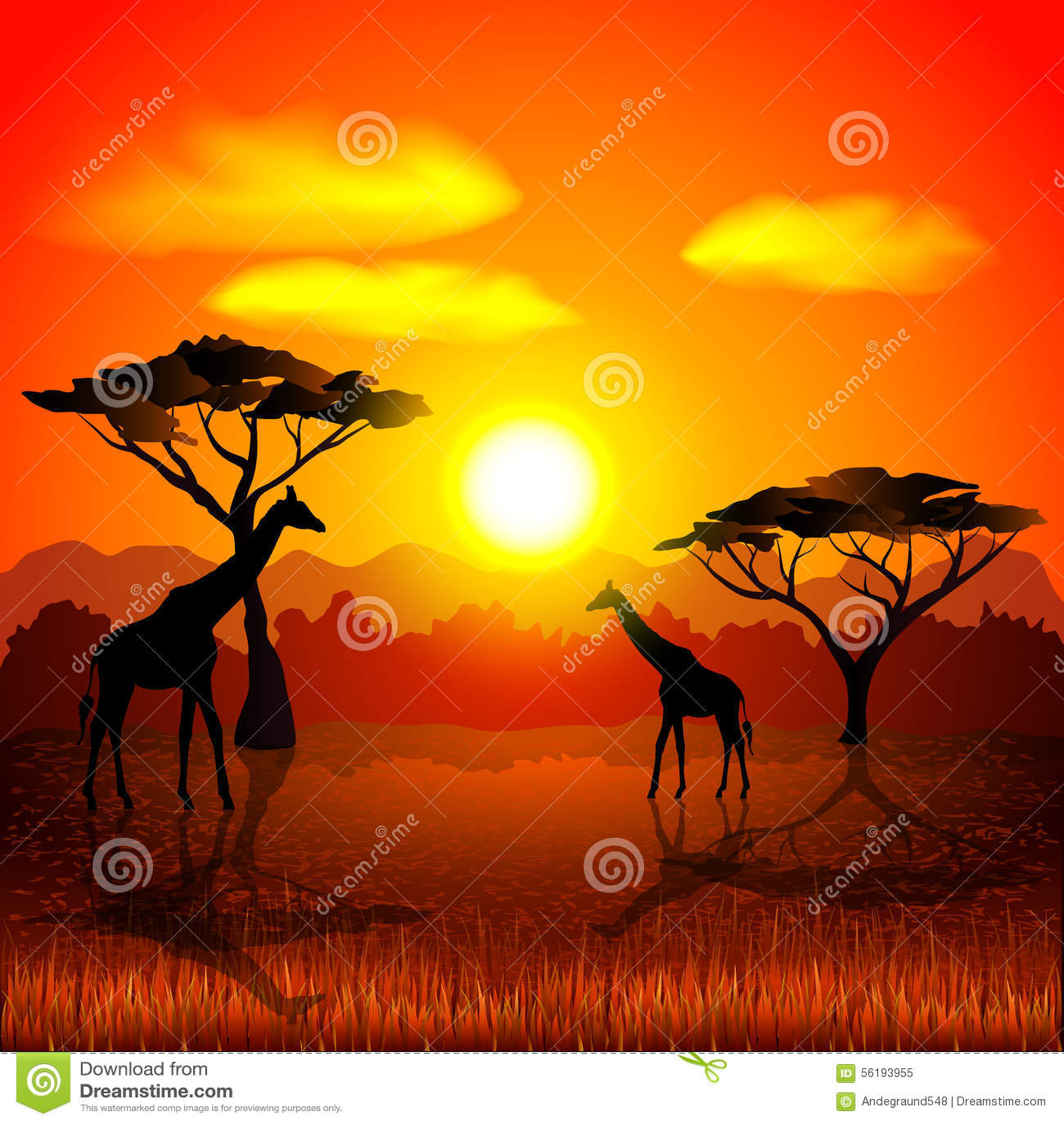 Sunset In African Savannah Vector Background Stock Vector