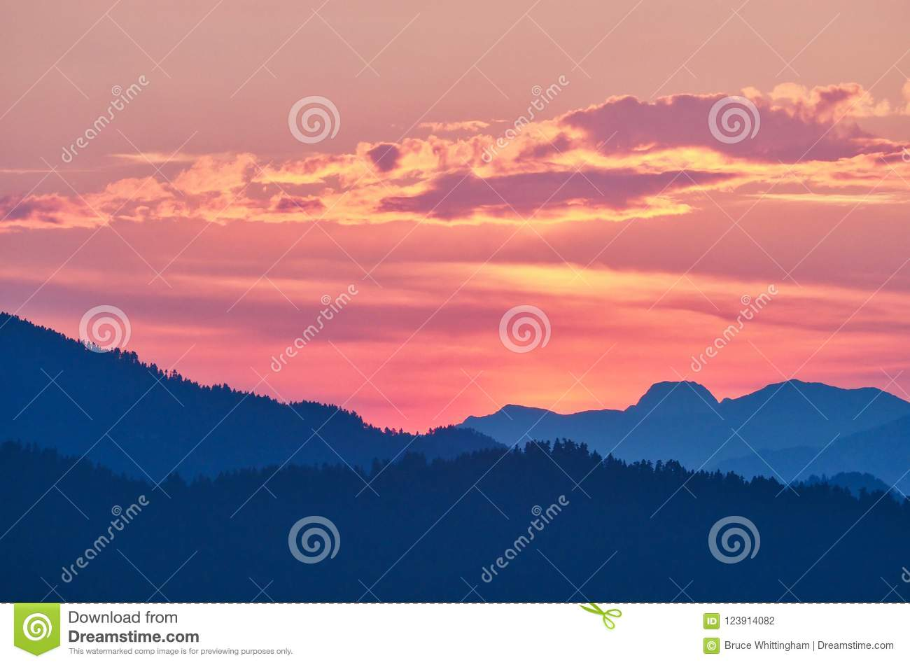 Sunset Afterglow Reflections On Clouds Greece Stock Photo