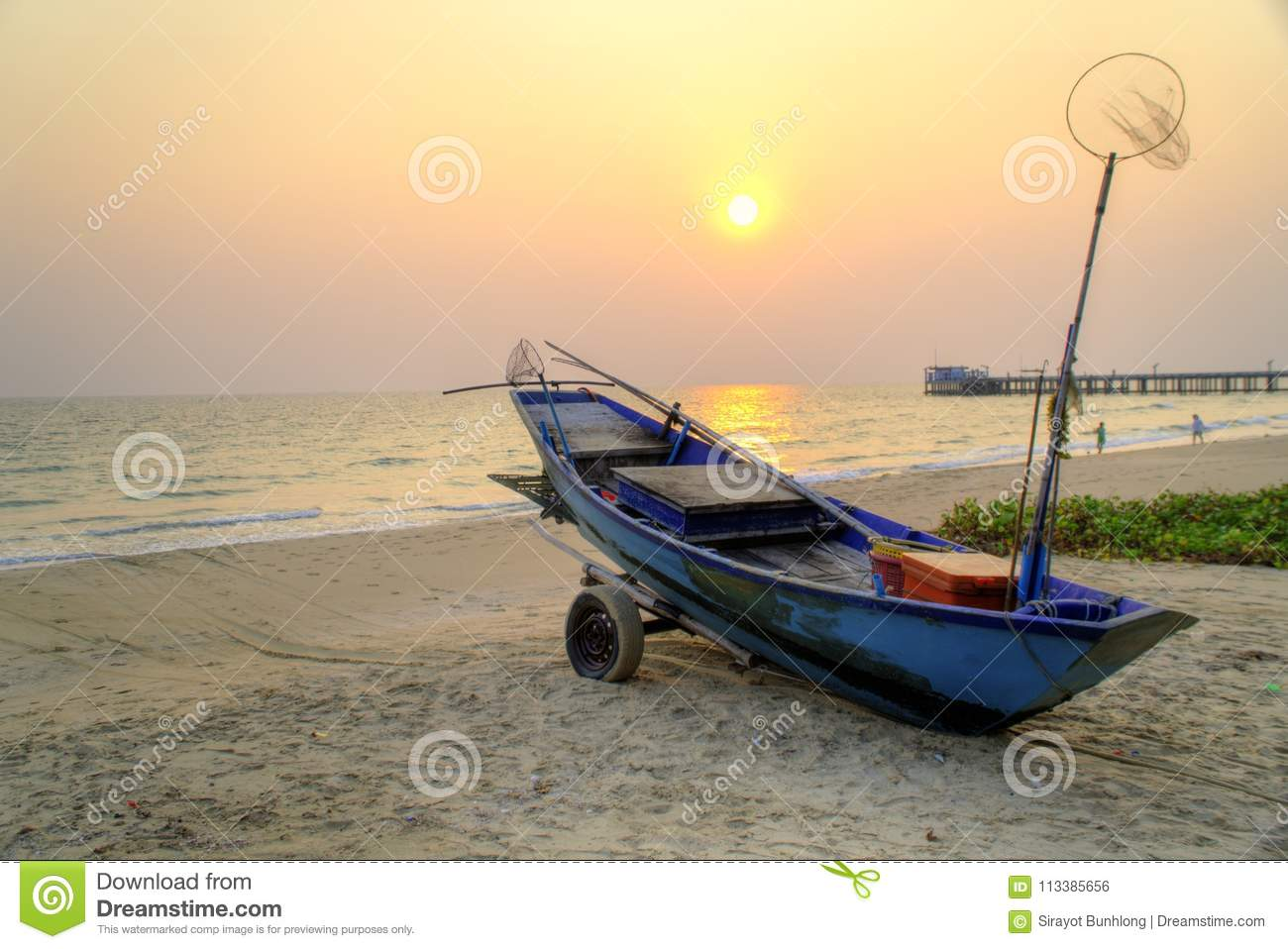 Fishing Boat And Tractor At Sunset Stock Image - Image of