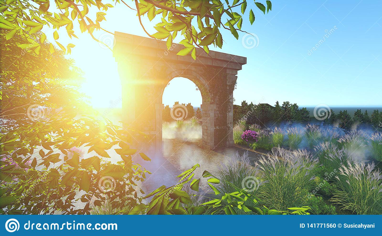 Sunset Ancient Gate Render stock photo  Image of ancient