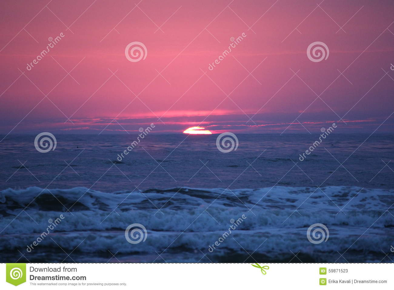 Sunset Baltic sea in Lithuania