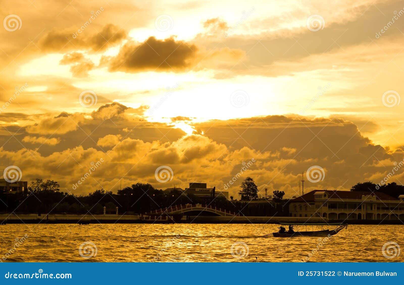 Sunset in Bangkok at River