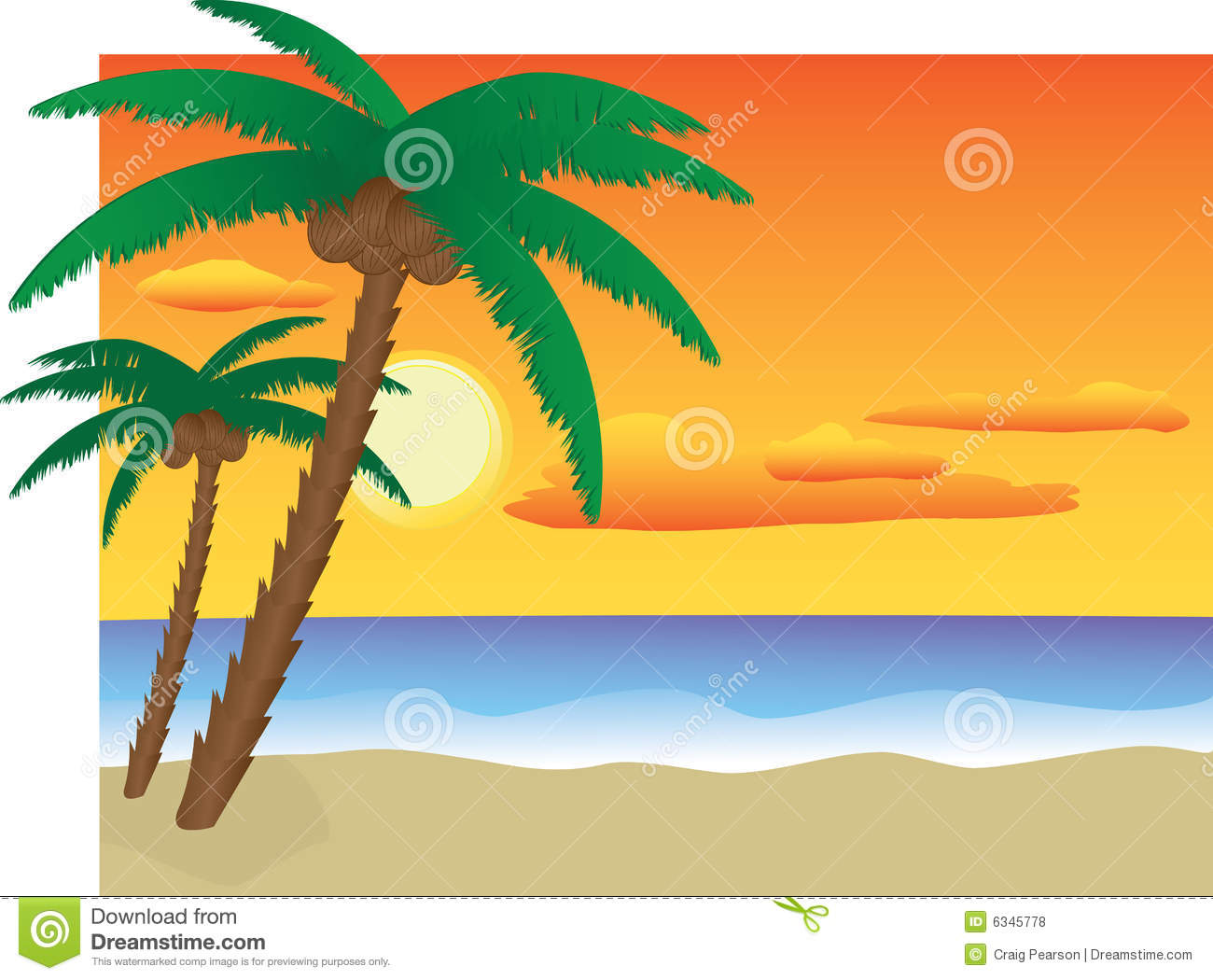 Sunset Beach Stock Illustration Of Water