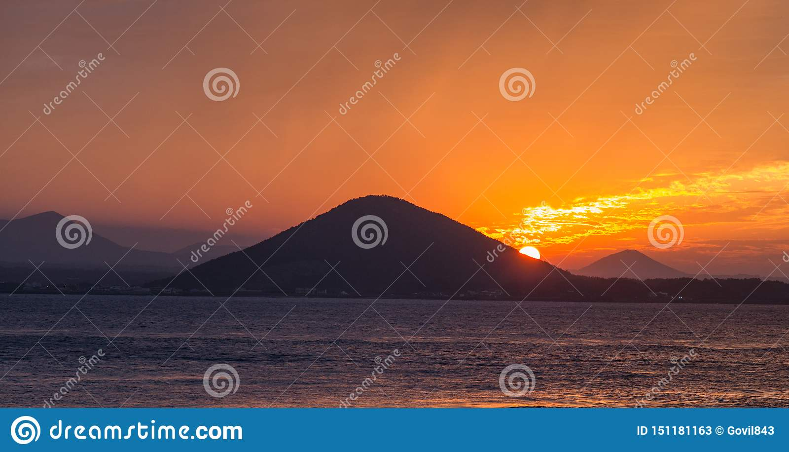 Sunset on the beach with beautiful sky, nature landscape