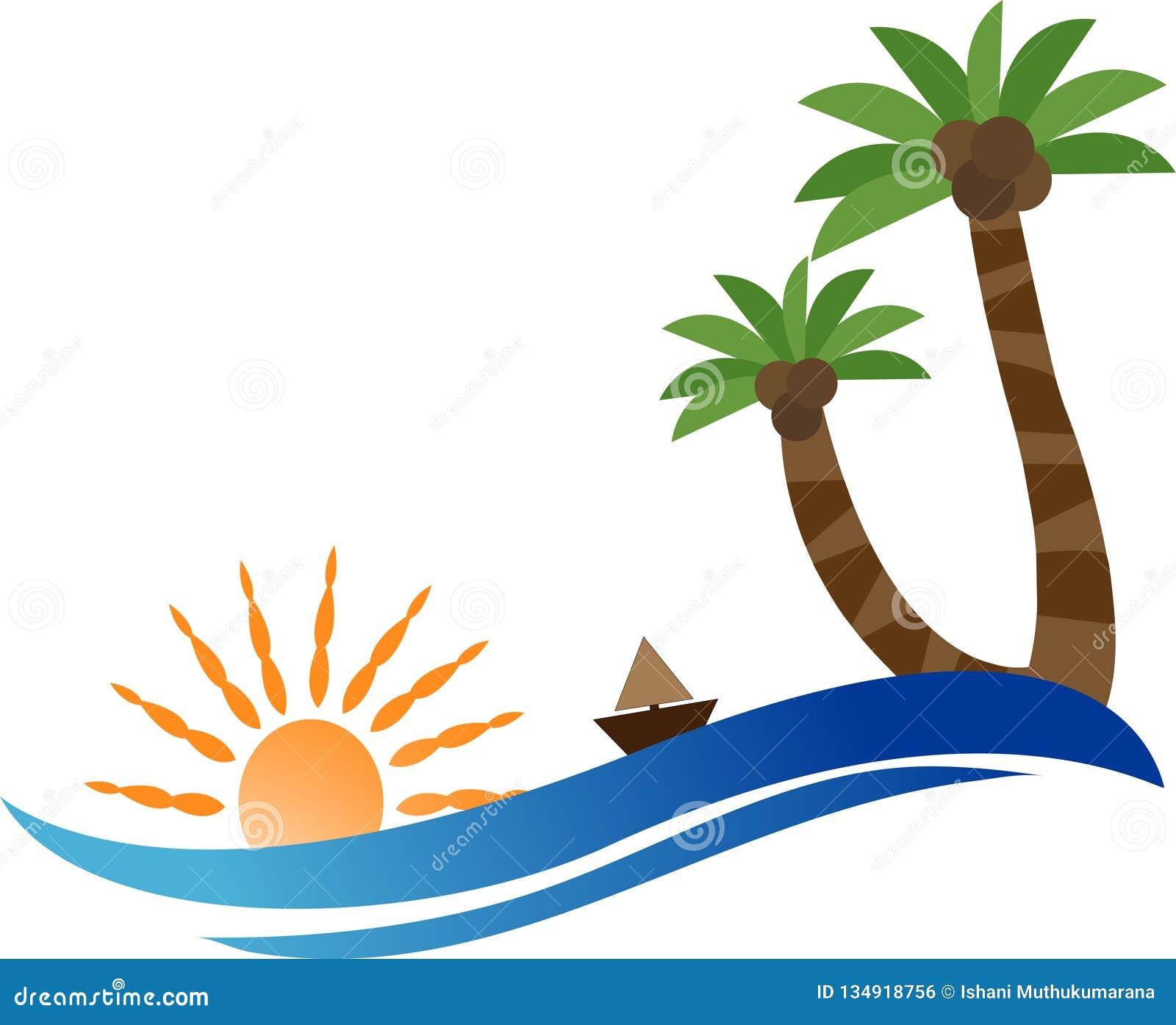 Travel Palm Tree Sunset Beach Logo Stock Vector