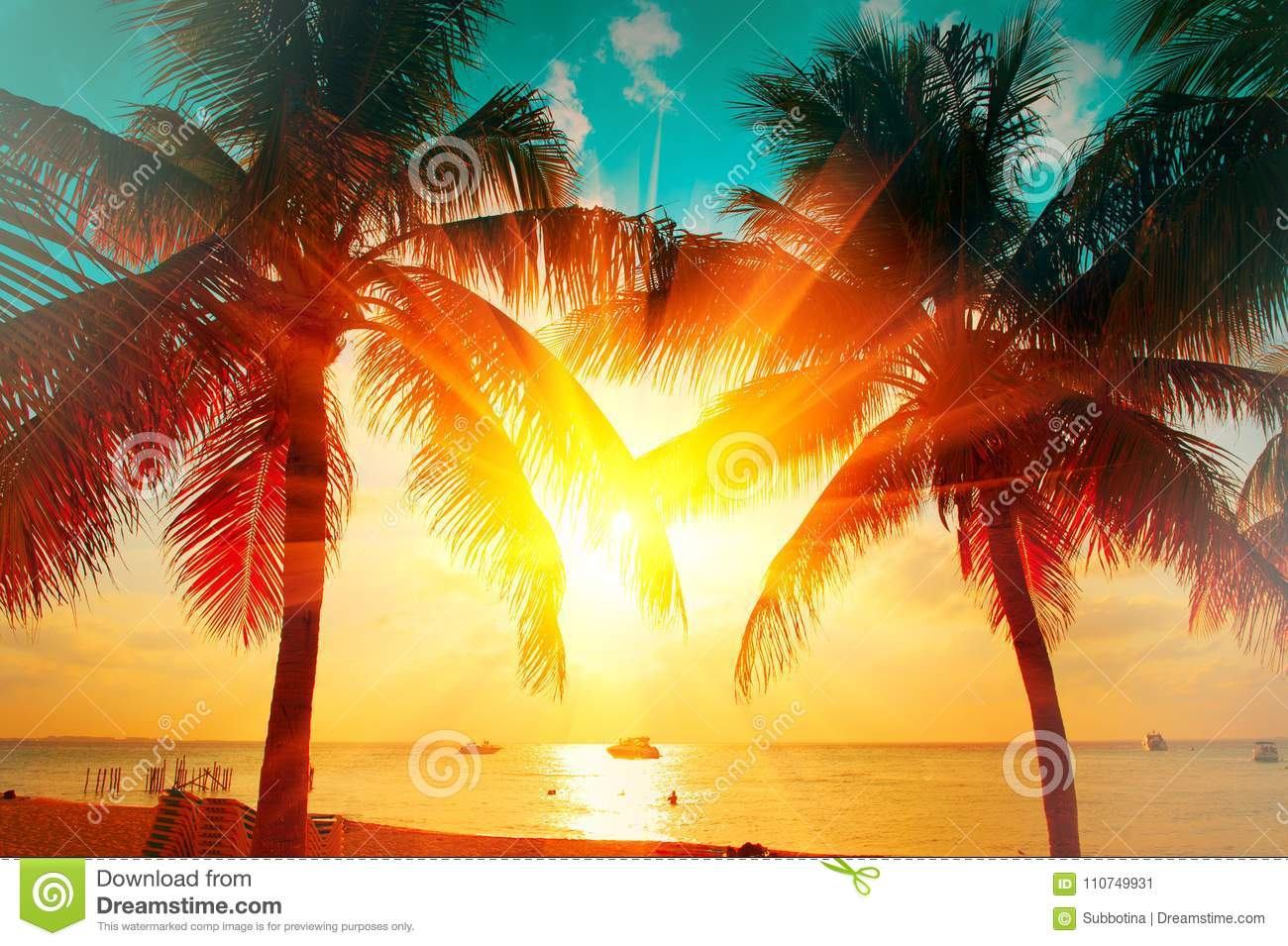 Sunset beach with tropical palm tree over beautiful sky. Palms and beautiful sky background. Tourism, vacation concept backdrop