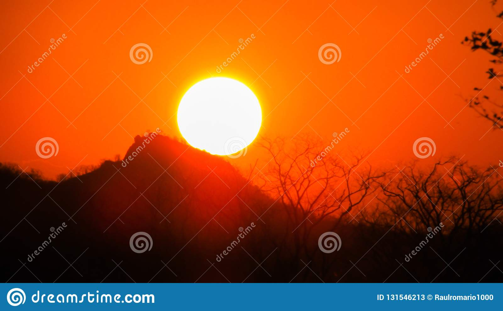 Sunset a beautiful sky orange golden clouds creating a beautiful and misteiroso scenery in the nordete of Brazil on the serrated. Biome stock photos