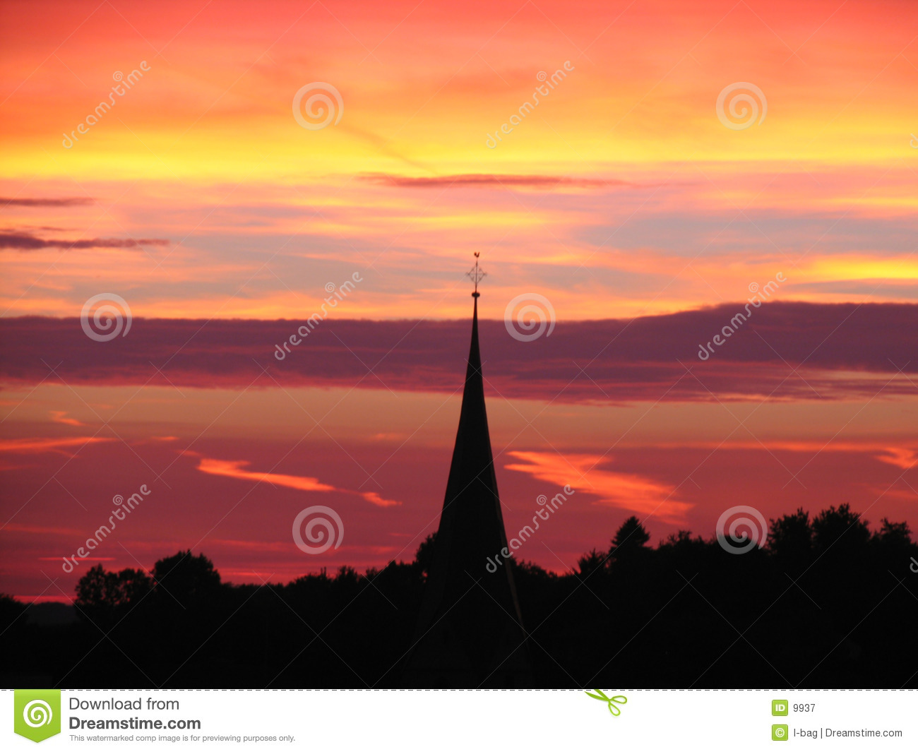 Sunset behind church tower