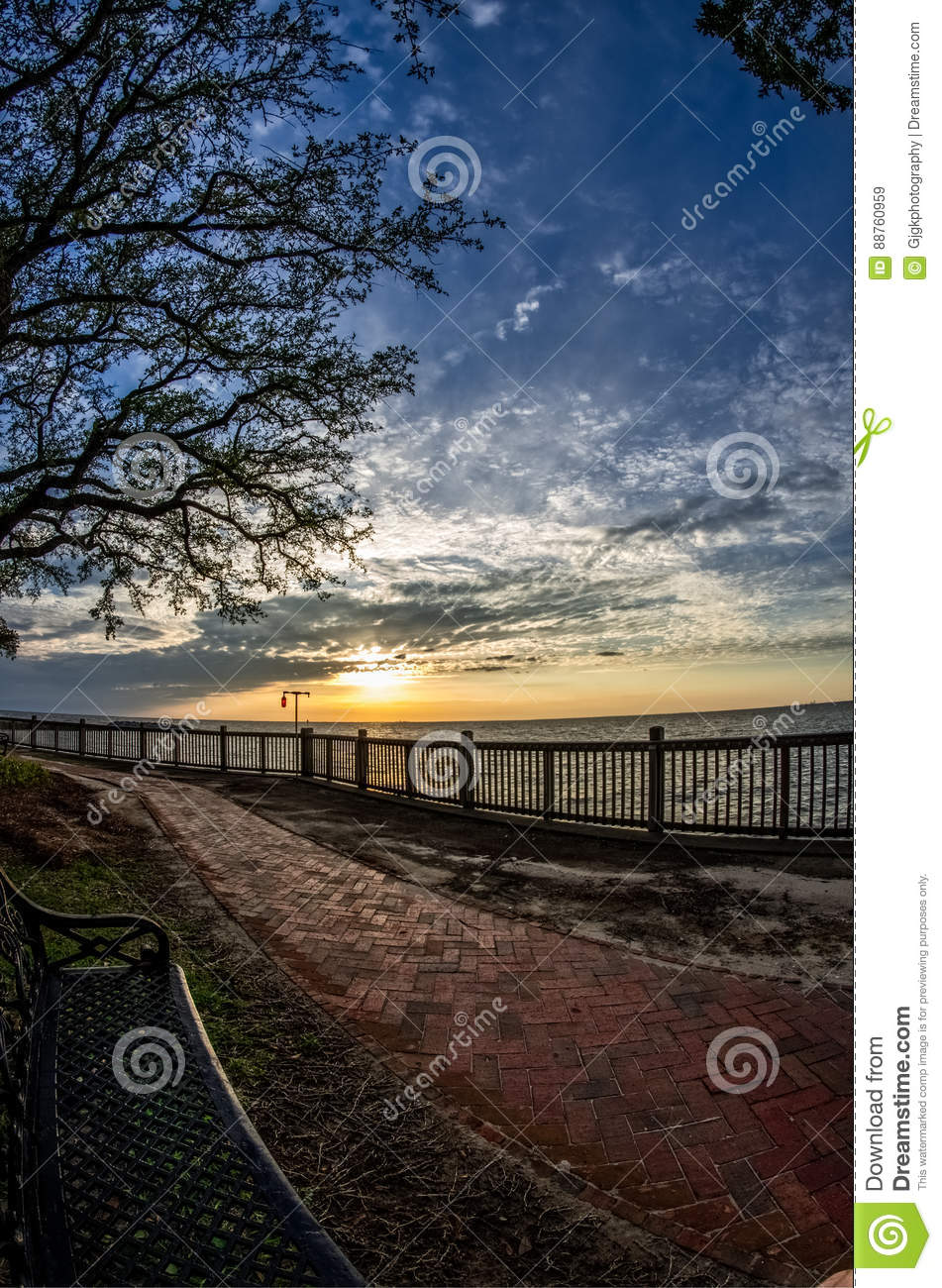 Sunset Bench Path at Mobile Bay