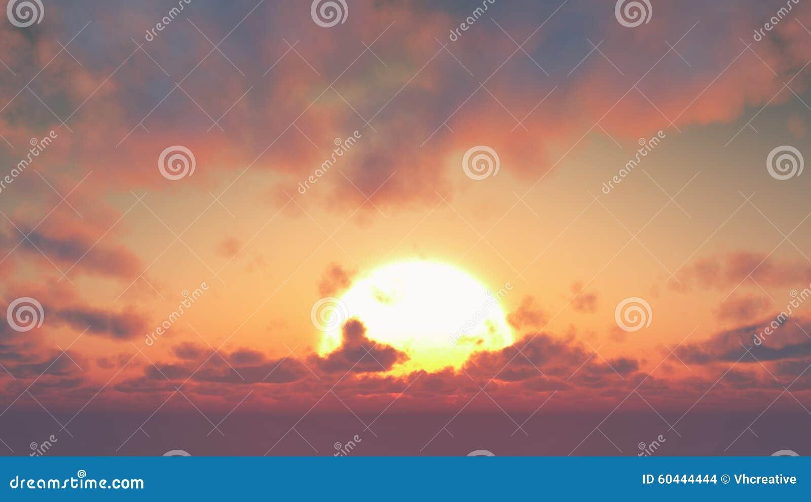 Sunset - big sun and cumulus clouds