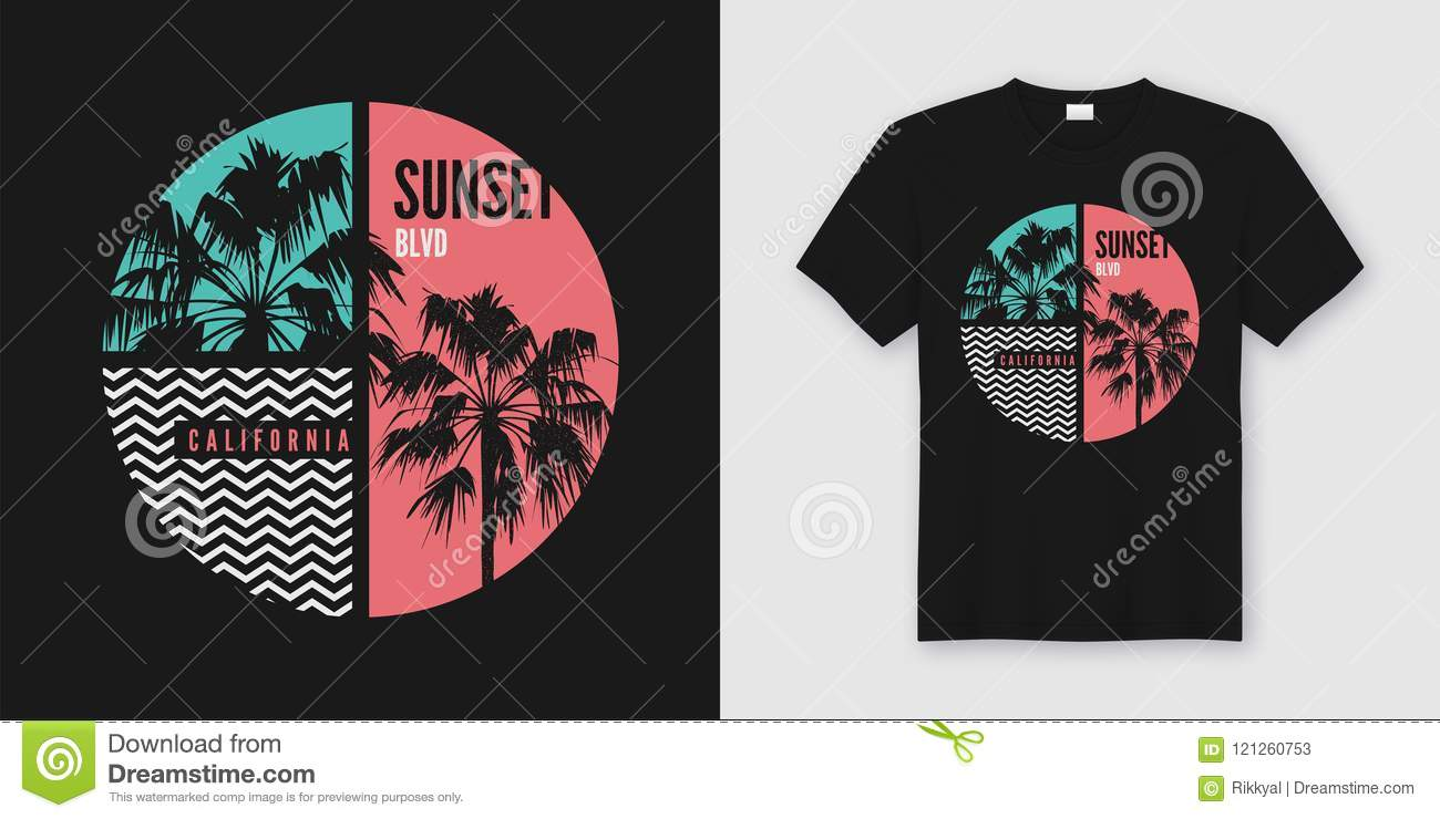 4b7074d7 Sunset Blvd California t-shirt and apparel trendy design with palm trees  silhouettes, typography, print, vector illustration. Global swatches.