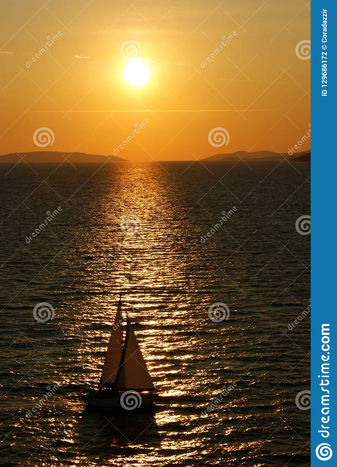 Sunset with boat on Adriatic Sea