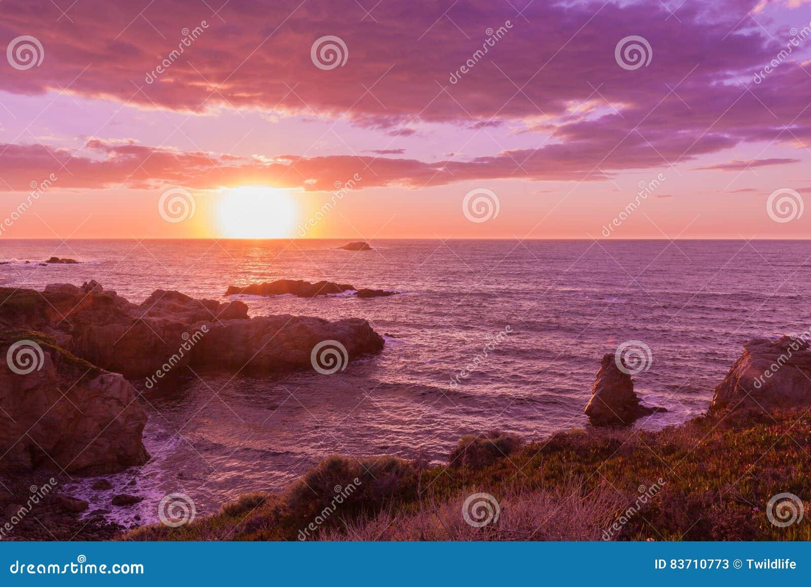 Sunset On The California Coast Stock Photo