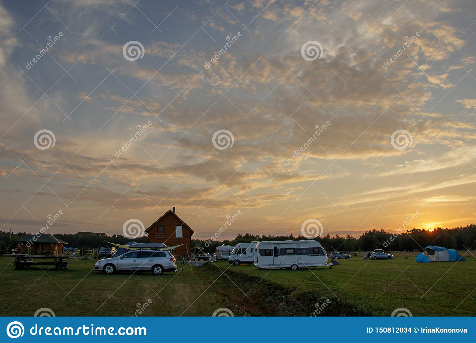 Sunset at the camping Caravan Park, located close to Tallinn