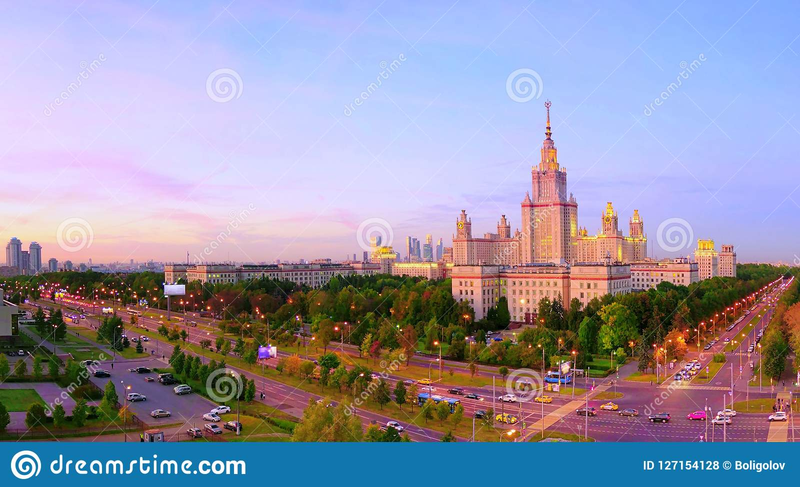 Sunset Campus Of Famous Russian University Stock Photo - Image of