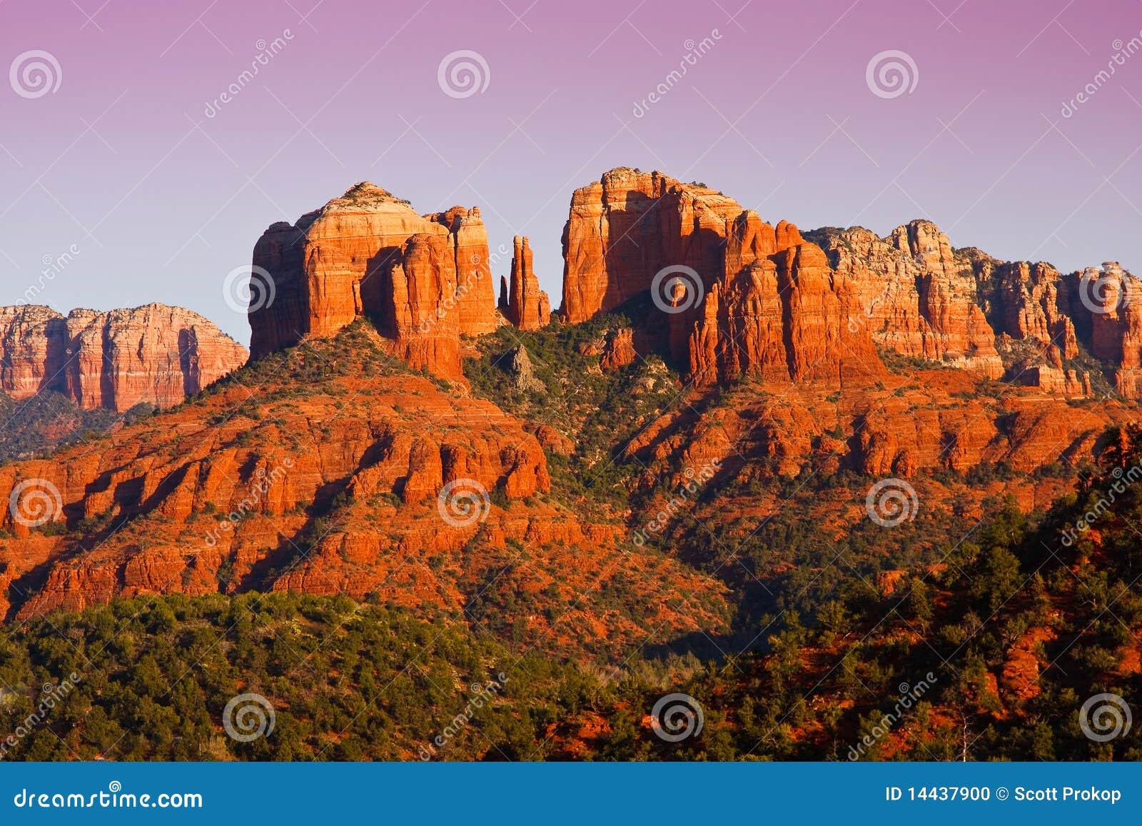 Sunset on Cathedral Rock near Sedona, Arizona.