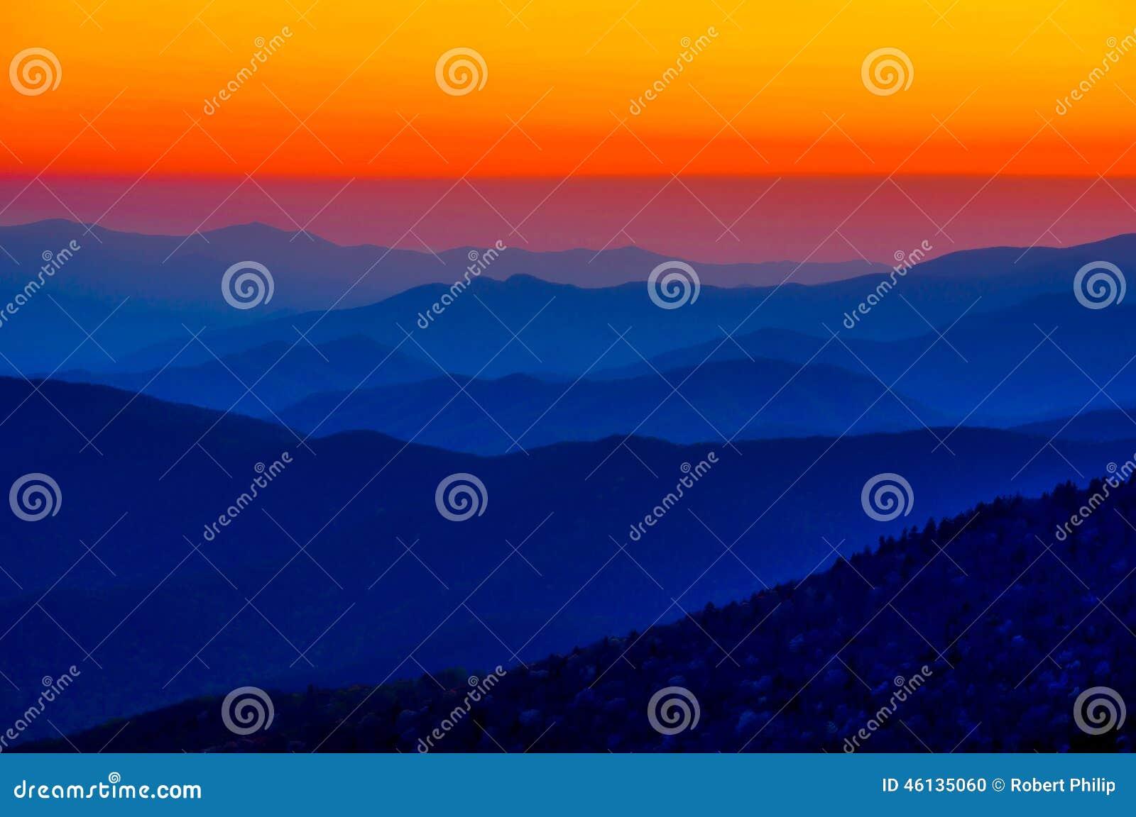 Orange Sunset Great Smoky Mountain National Park