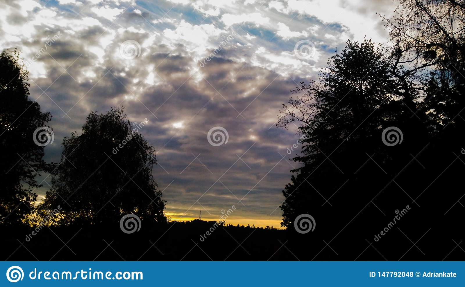 Sunset with clouds