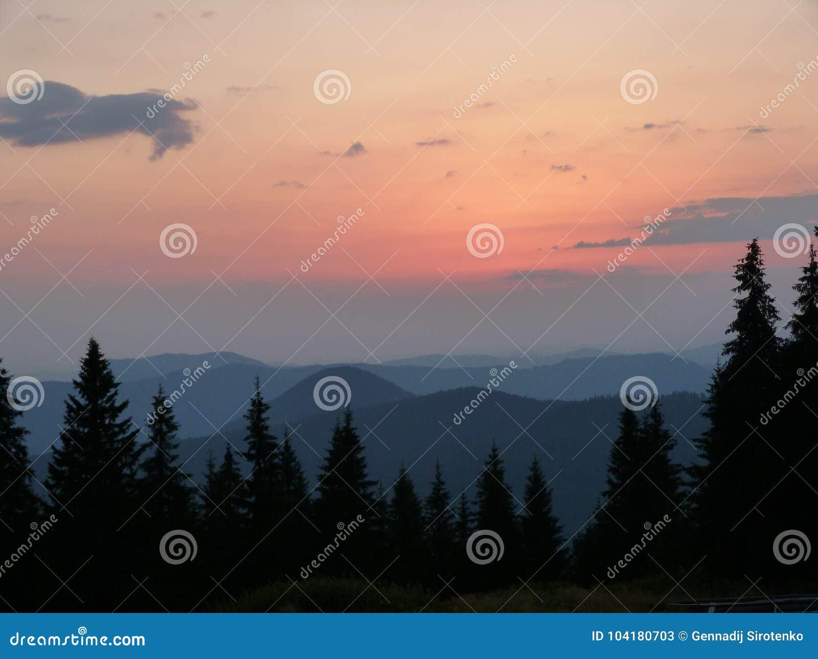 The Ukrainian Carpathians. Mountain ridge Marmaros near the town of Rahiv. Ukraine.
