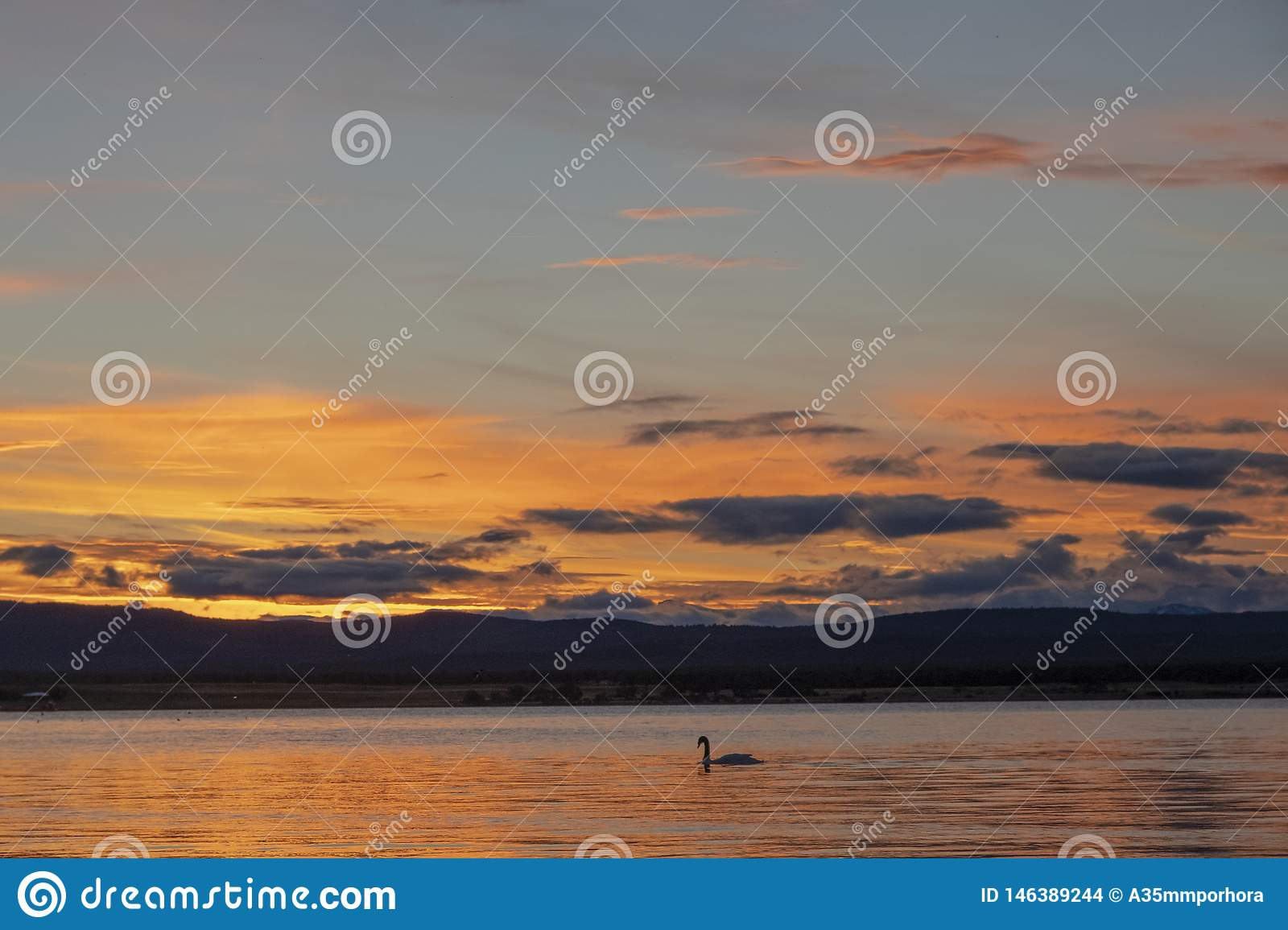 Sunset on the coast of Puerto Natales