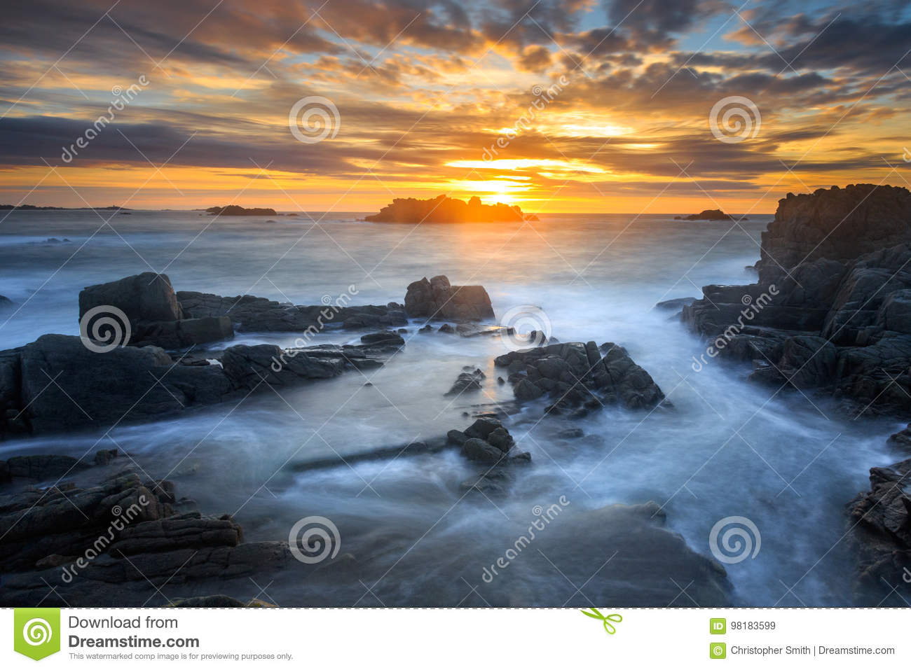 sunset at cobo bay in guernsey stock image image of british