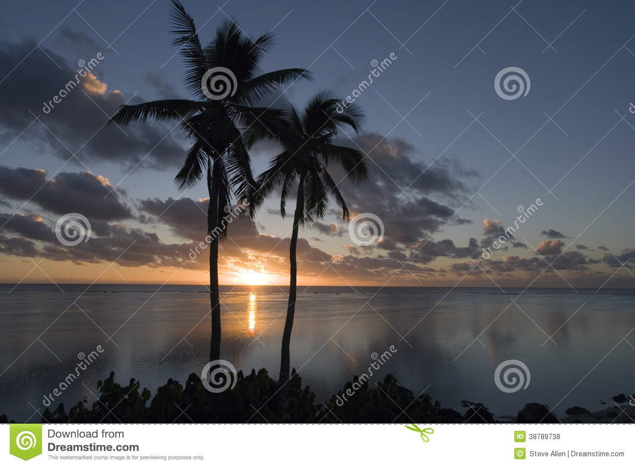 Sunset in the Cook Islands in the South Pacific
