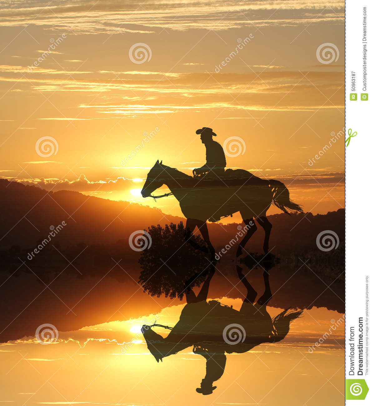 Download Sunset Cowboy By A Lake In The Mountains. Stock Image - Image of horse, range: 50963187