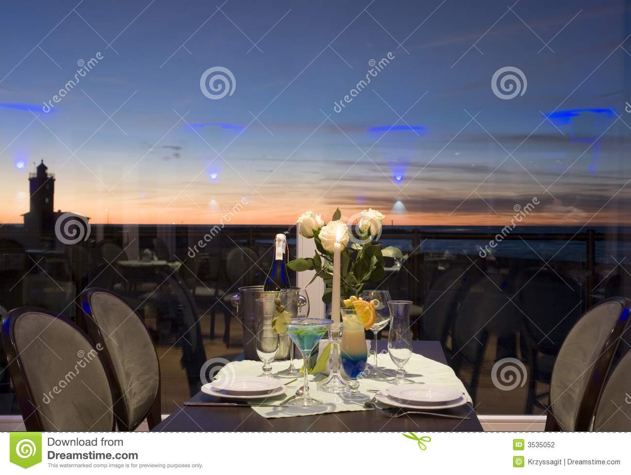 Sunset dinner table setting