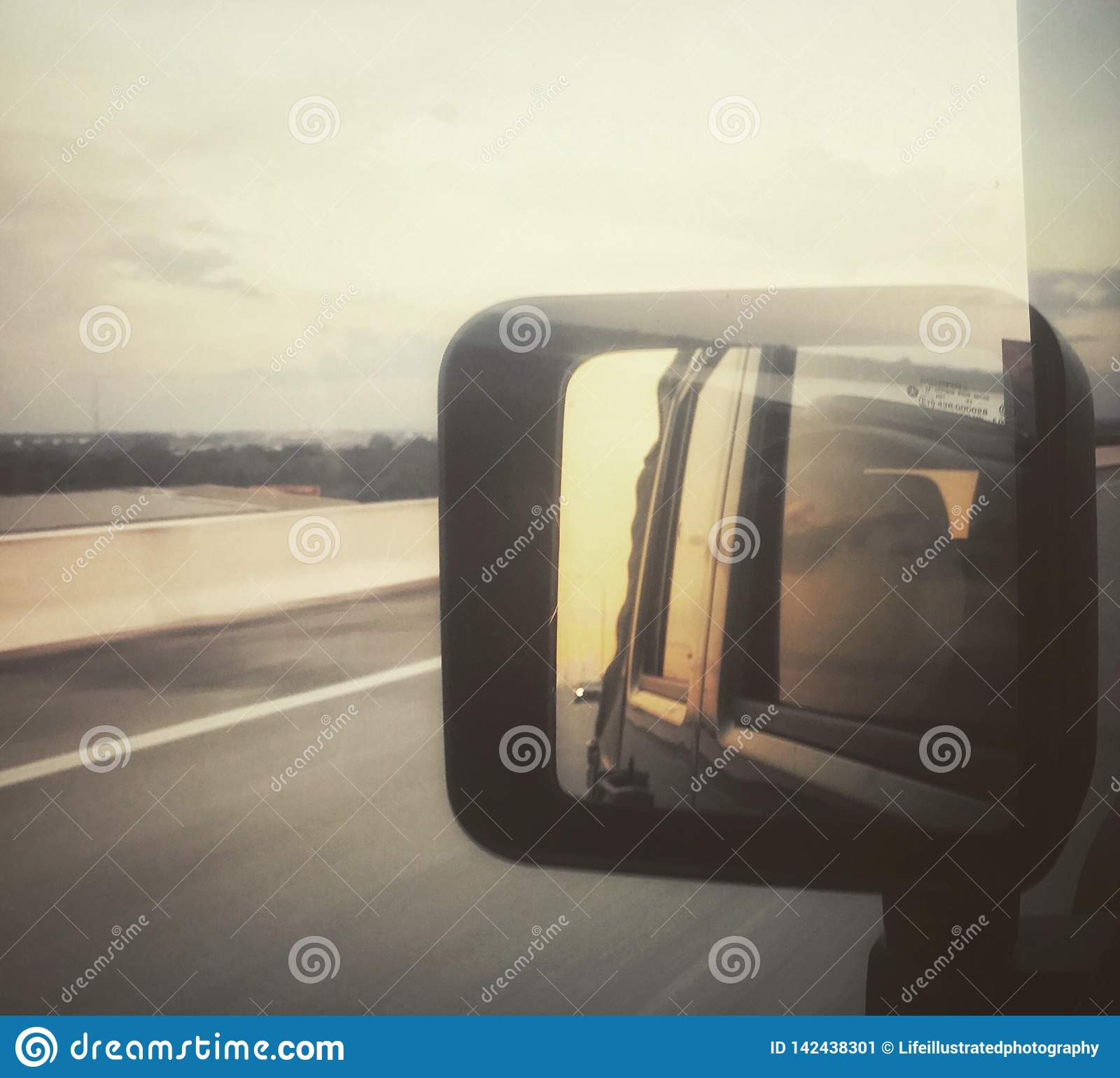 Sunset in the rear view