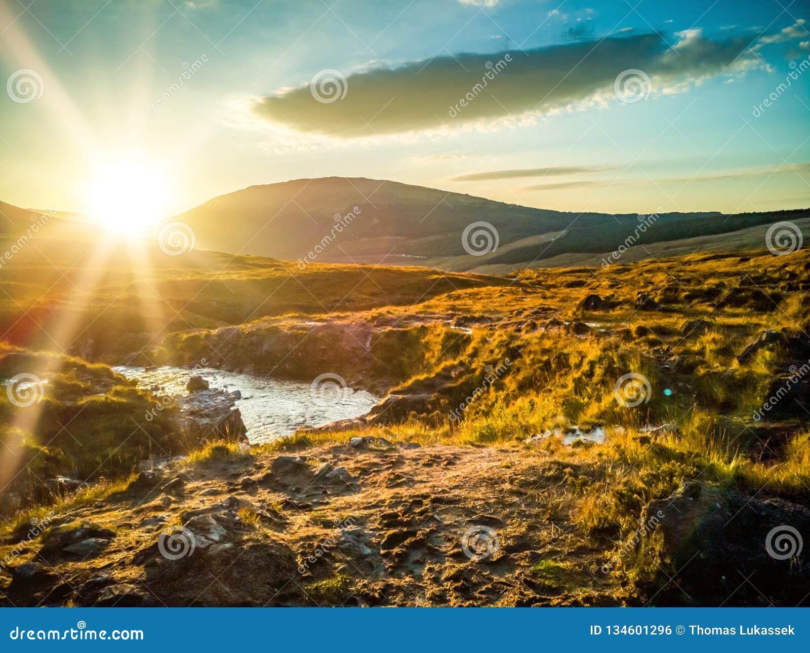 Sunset at the Fairy Pools in autumn, Glen Brittle, Skye, Scotland