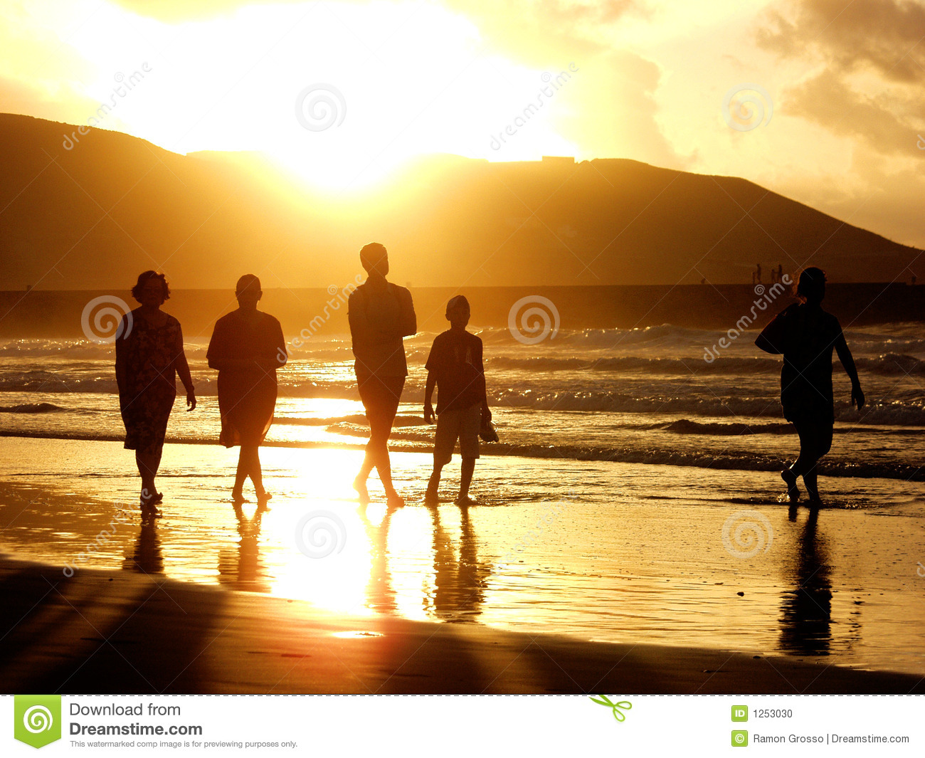 Sunset Family Stock Photo Image 1253030