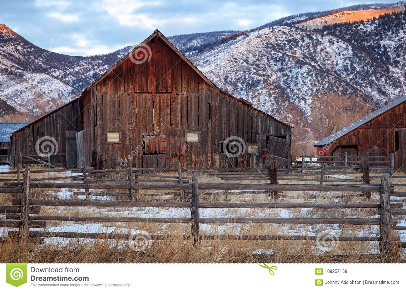 Download Old Barn Sunset Utah USA Stock Photo