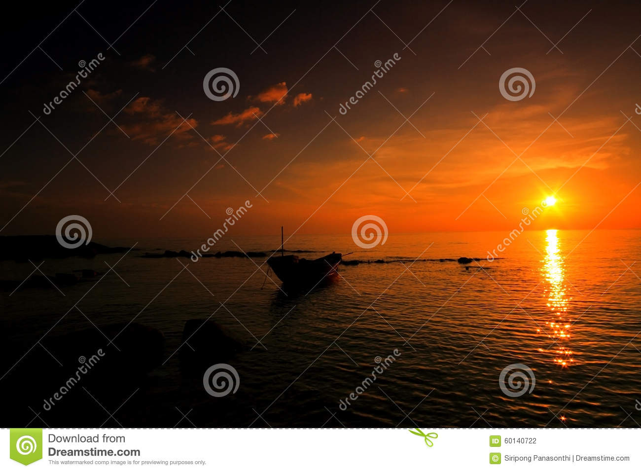 Download Sunset with fishing boat stock photo. Image of meditation - 60140722