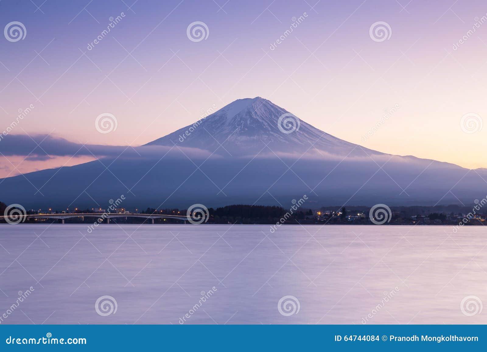 After sunset of Fuji mountain on Kawaguchi Lake
