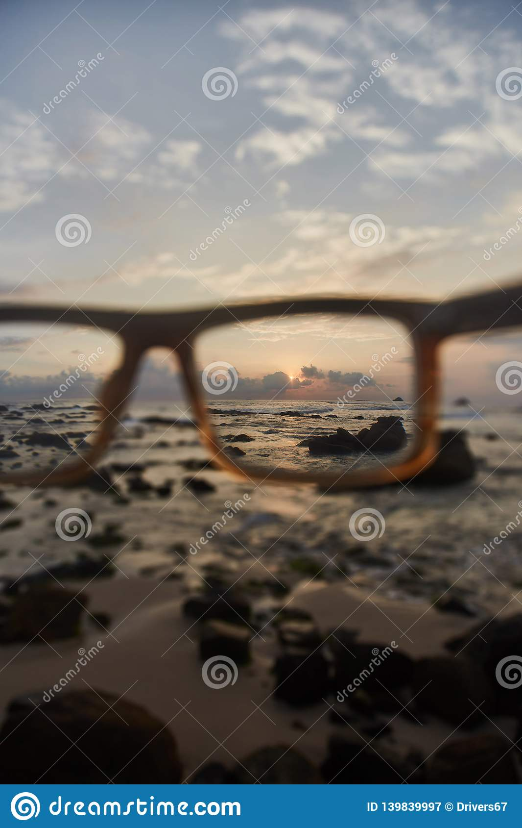 Sunset through the glasses
