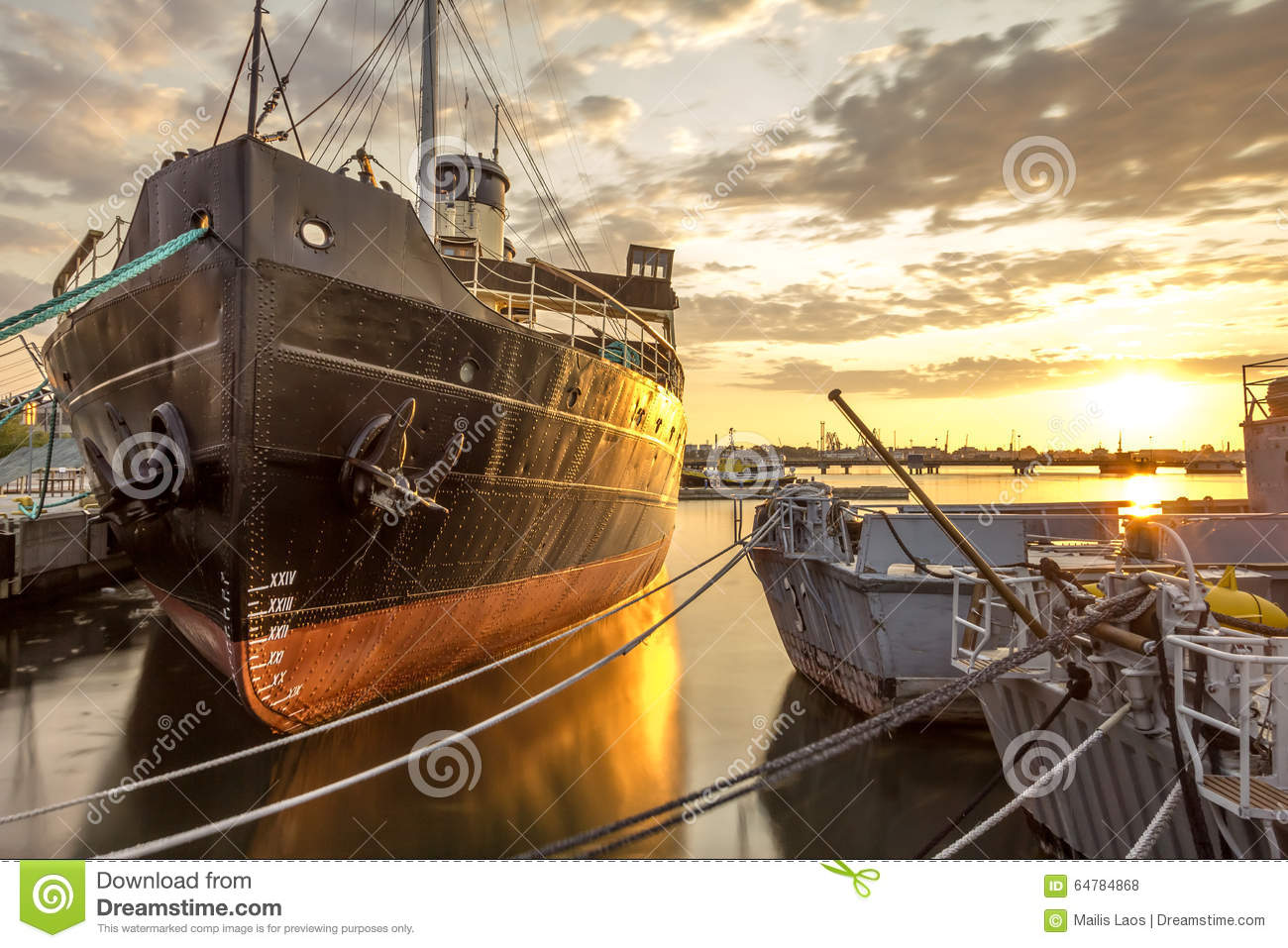 Download Sunset in the Harbor stock photo. Image of sunset, boats - 64784868