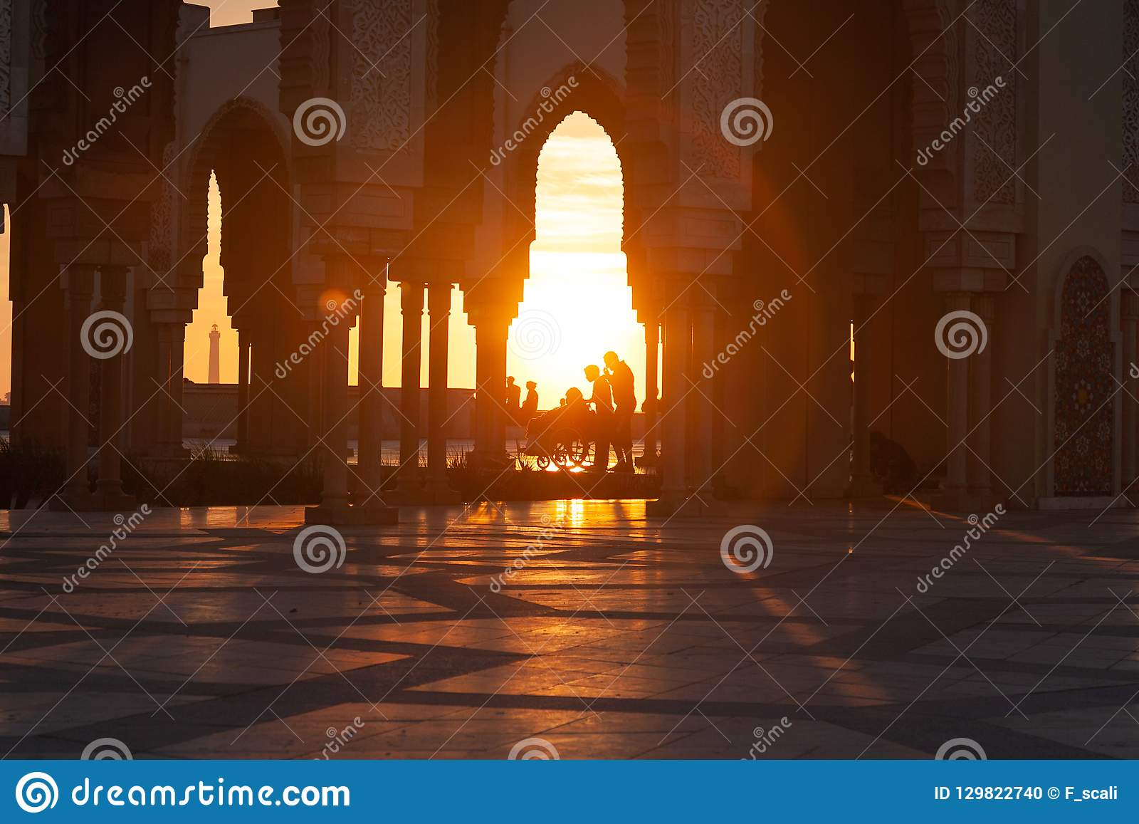 Sunset at Hasan II Mosque in Casablanca